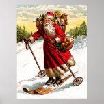 Skiing Santa Claus Posters