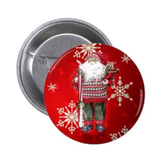 Skiing Santa Pinback Button