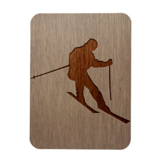 Skiing silhouette engraved on wood design rectangular photo magnet