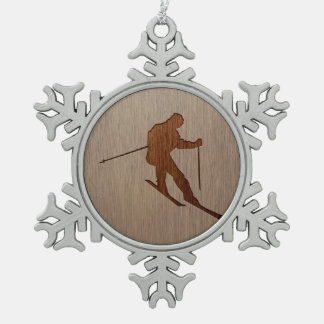 Skiing silhouette engraved on wood design snowflake pewter christmas ornament