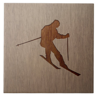 Skiing silhouette engraved on wood design large square tile