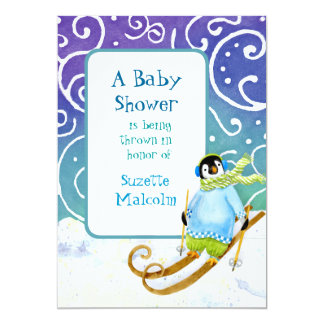 Skiing Ski Snowboarder Penguin Baby Shower Invite