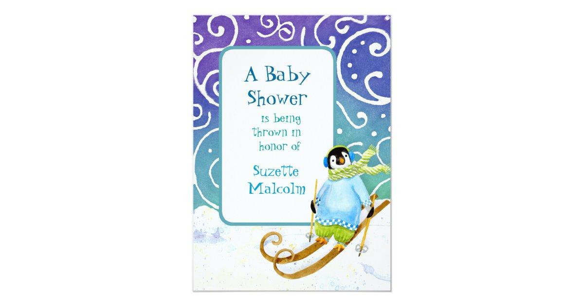 Skiing Ski Snowboarder Penguin Baby Shower Invite | Zazzle.com