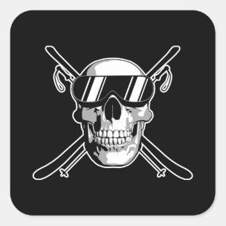 Skiing Skull Square Sticker