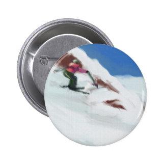 Skiing Snow Mountain Art Button