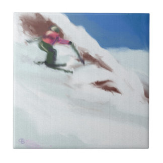 Skiing Snow Mountain Art Ceramic Tile