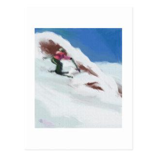 Skiing Snow Mountain Art Postcard