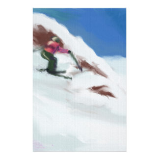Skiing Snow Mountain Art Stationery