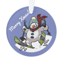 Skiing Snowman in Woolly Hat Merry Xmas! Cartoon Ornament