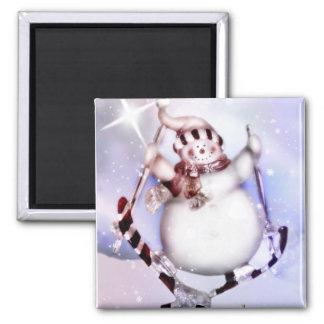 Skiing Snowman Magnet