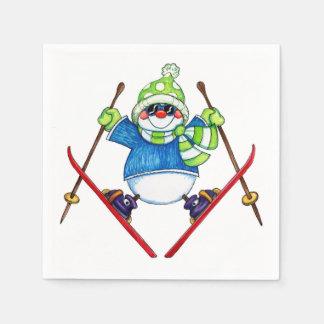 Skiing Snowman - Paper Napkins