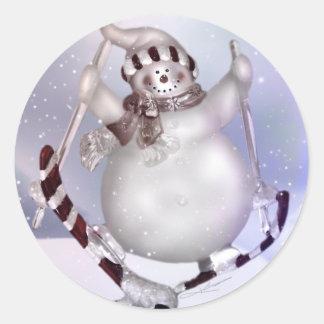 Skiing Snowman Sticker