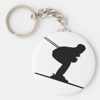 skiing sport basic round button keychain