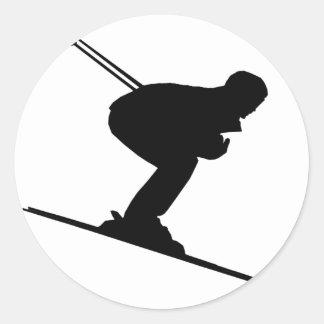 skiing sport classic round sticker