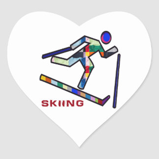 SKIING SPORTS Competition Heart Sticker