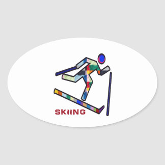 SKIING SPORTS Competition Oval Sticker