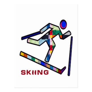 SKIING SPORTS Competition Postcard