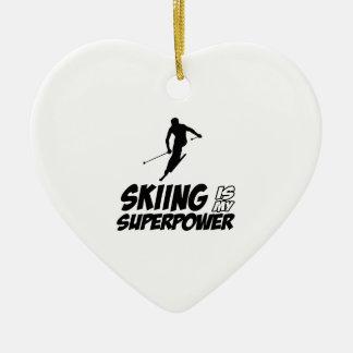 Skiing Superpower Designs Ceramic Ornament