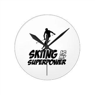 Skiing Superpower Designs Round Clock