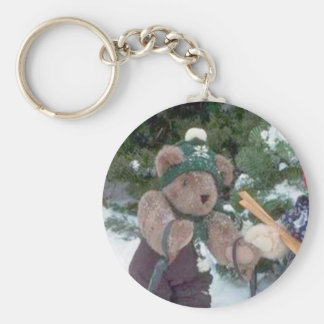 Skiing Teddy Bear on the slopes Keychain