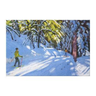 Skiing through the Woods La Clusaz 2012 Canvas Print