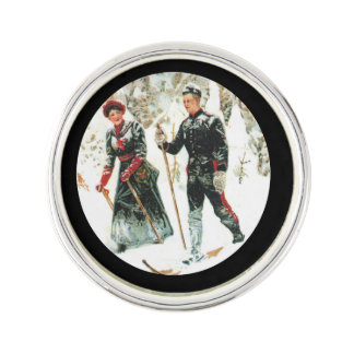 Skiing Through the Woods Lapel Pin