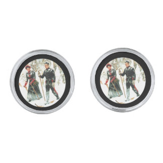 Skiing Through the Woods Silver Cufflinks