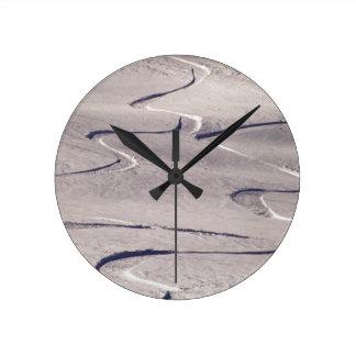 Skiing Tracks Round Clock