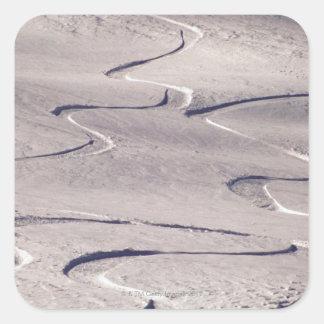 Skiing Tracks Square Sticker