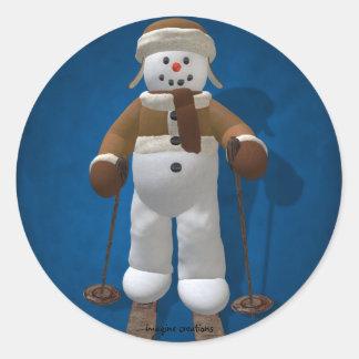 Skiing Vintage Snowman Classic Round Sticker