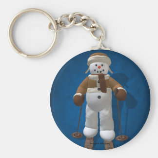 Skiing Vintage Snowman Keychain