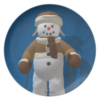 Skiing Vintage Snowman Party Plate