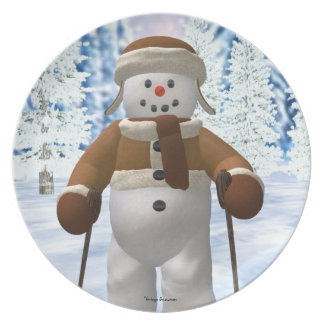 Skiing Vintage Snowman Party Plates