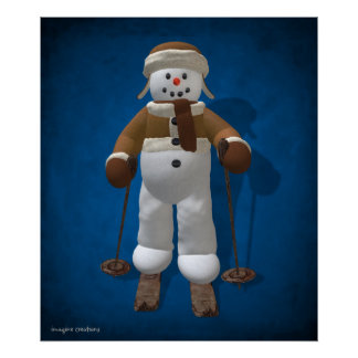 Skiing Vintage Snowman Poster