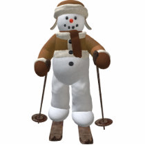 Skiing Vintage Snowman Statuette