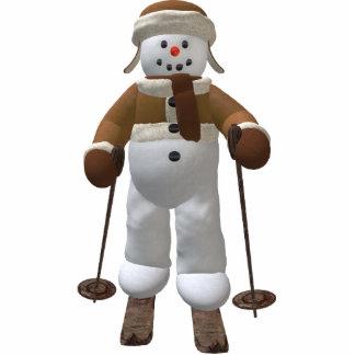 Skiing Vintage Snowman Statuette