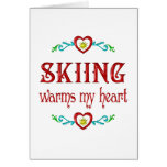 Skiing Warms My Heart Greeting Cards