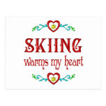 Skiing Warms My Heart Post Cards
