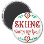 Skiing Warms My Heart Refrigerator Magnets