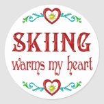 Skiing Warms My Heart Sticker
