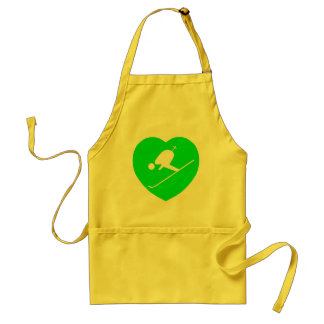 Skiing White on Green Heart Adult Apron