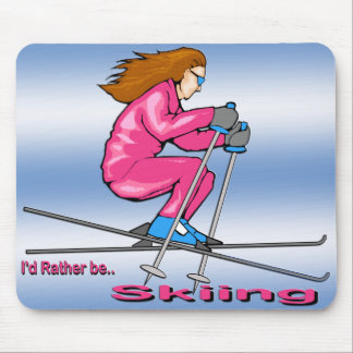 Skiing Woman Mouse Pad