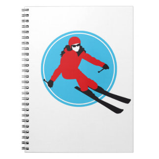 skiing woman notebook