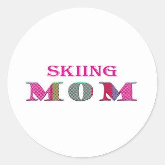 SkiingMom Classic Round Sticker