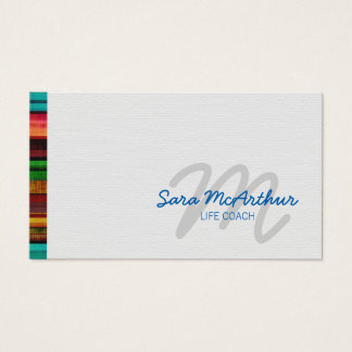 Skilled Services Colorful Edge Cursive Monogram Business Card