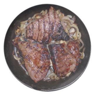 Skillet del filete platos para fiestas