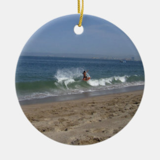 Skimboarder Success Double-Sided Ceramic Round Christmas Ornament