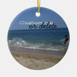 Skimboarders in the Surf; Customizable Ceramic Ornament