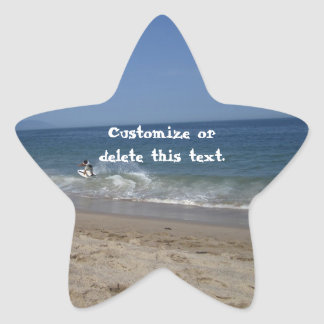 Skimboarders in the Surf; Customizable Star Sticker