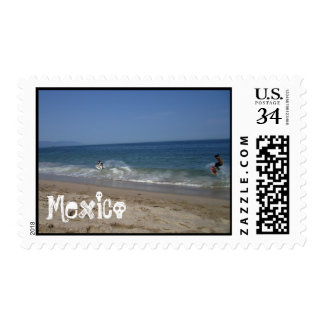 Skimboarders in the Surf; Mexico Souvenir Postage